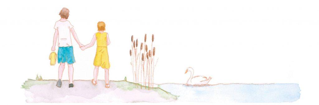 Lilu und ihre Mutter am Fluss